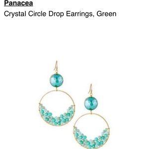 Panacea green crystal double hoop drop earrings